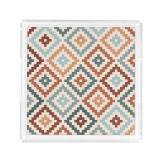 Aztec Block Symbol Big Ptn Teals Crm Terracottas Acrylic Tray
