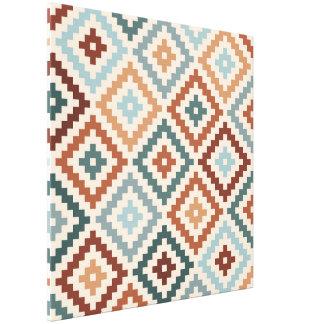 Aztec Block Symbol Big Ptn Teals Crm Terracottas Canvas Print