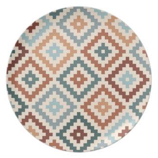Aztec Block Symbol Big Ptn Teals Crm Terracottas Plate