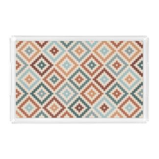Aztec Block Symbol Pattern Teals Crm Terracottas Acrylic Tray