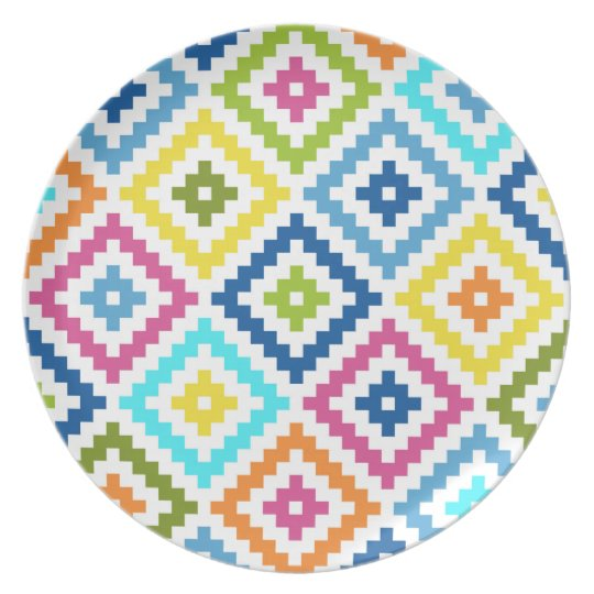 Aztec Block Symbol Ptn Multicolored Plate