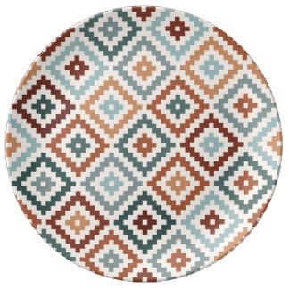 Aztec Block Symbol Ptn Teals Crm Terracottas Plate
