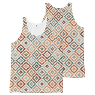 Aztec Block Symbol Rpt Ptn Teals Crm Terracottas All-Over-Print Tank Top