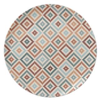 Aztec Block Symbol Rpt Ptn Teals Crm Terracottas Plate