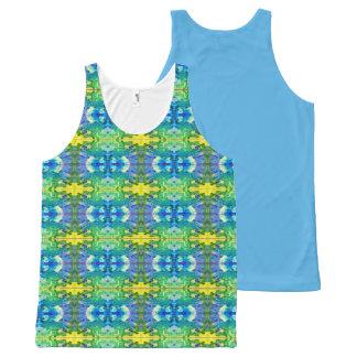 Aztec Blue & Green All-Over-Print Tank Top
