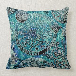 "Aztec blues Polyester Throw Pillow 20"" x 20"""