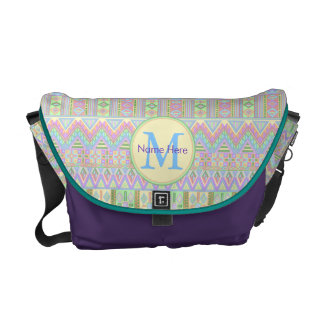 Aztec Boho Pastels Monogram School Or Work Girly Courier Bags