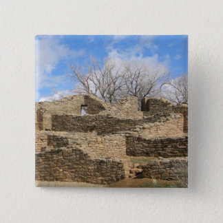 aztec brick ruins with nice sky 2 inch square button