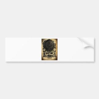 Aztec Calendar Design Mask Mexican Sunstone Bumper Sticker