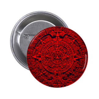 Aztec Calendar - red 2 Inch Round Button