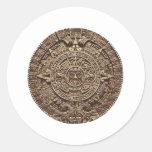 Aztec Calender Round Stickers