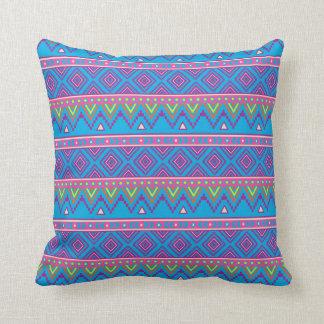 Aztec Candy Pink Blue Purple Print pillow