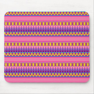 Aztec Candy Pink Yellow Blue Purple tribal Mouse Pad