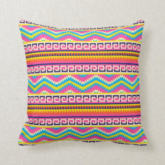 Aztec Candy Pink Yellow Blue White tribal pillow
