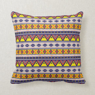 Aztec Candy Yellow Blue White Print pillow