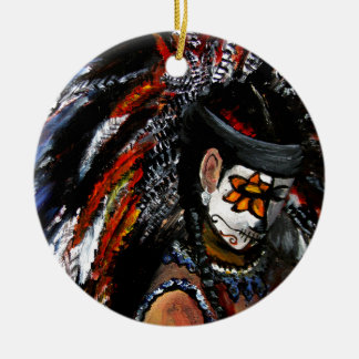 Aztec celebration round ceramic ornament