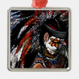 Aztec celebration Silver-Colored square ornament