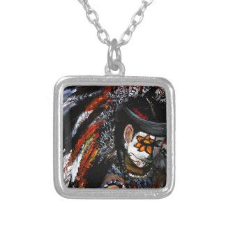 Aztec celebration silver plated necklace