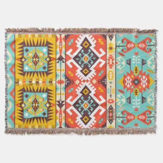 Aztec colorful fashion seamless pattern throw blanket