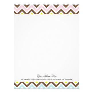 Aztec Colors - Chic Chevron Zigzag Pattern Letterhead Design