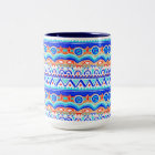 Aztec Colourful Blue Orange And White Pattern Two-Tone Coffee Mug