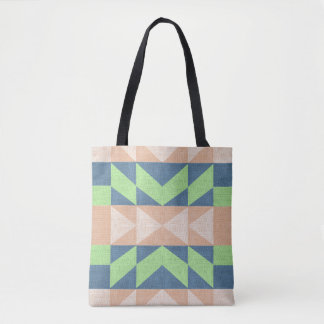 Aztec Design Tote Bag Brown Green and blue