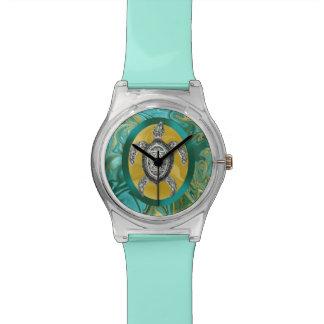 Aztec Emblem Sea Turtle Wristwatches