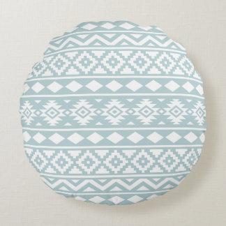 Aztec Essence 2Way Ptn III Duck Egg Blue & White Round Pillow