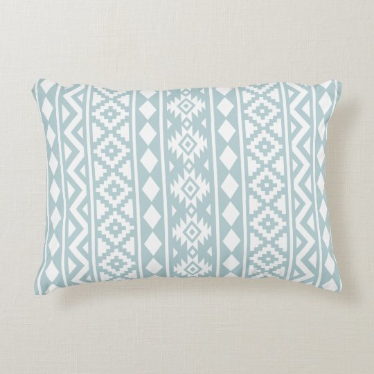 Aztec Essence 2Way Ptn III Duck Egg Blue & Wt Accent Pillow