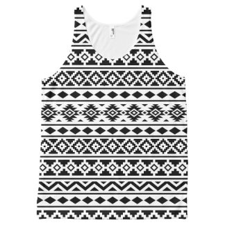 Aztec Essence II Pattern Black on White All-Over-Print Tank Top