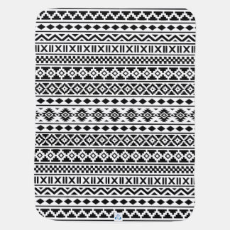 Aztec Essence Pattern Black on White Swaddle Blankets