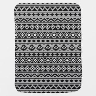 Aztec Essence Pattern II Black White Grey Stroller Blankets