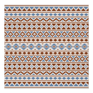 Aztec Essence Pattern II Rust Blue Cream Poster