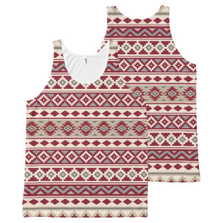 Aztec Essence Pattern IIb Red Grays Cream Sand All-Over-Print Tank Top
