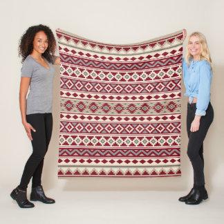 Aztec Essence Pattern IIb Red Grays Cream Sand Fleece Blanket