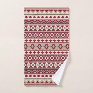 Aztec Essence Pattern IIb Red Grays Cream Sand Hand Towel