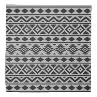 Aztec Essence Pattern III Black on Gray Duvet Cover