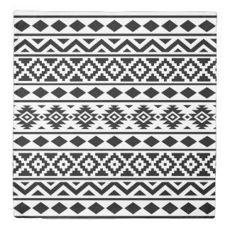Aztec Essence Pattern III Black on White Duvet Cover