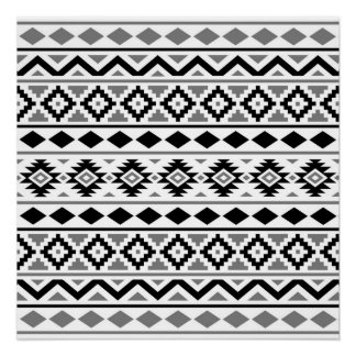 Aztec Essence Pattern III Black White Gray Poster