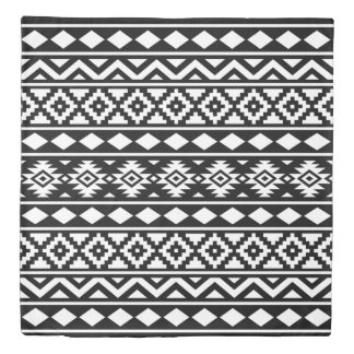 Aztec Essence Pattern III White on Black Duvet Cover