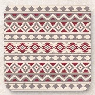 Aztec Essence Pattern IIIb Cream Taupe Red Coaster