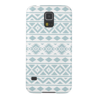 Aztec Essence Ptn III Duck Egg Blue on White Galaxy S5 Covers