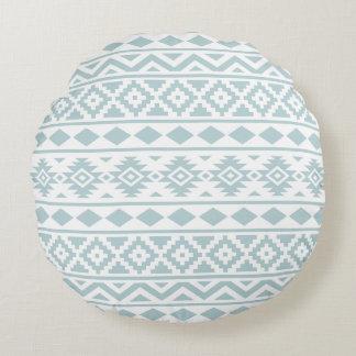 Aztec Essence Ptn III Duck Egg Blue on White Round Pillow