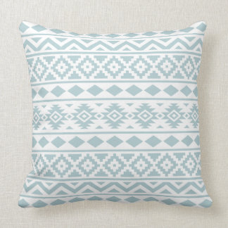 Aztec Essence Ptn III Duck Egg Blue on White Throw Pillow