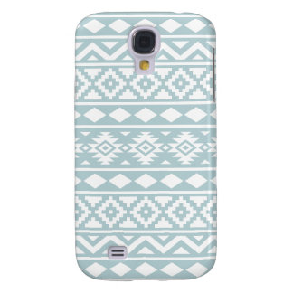 Aztec Essence Ptn III White on Duck Egg Blue