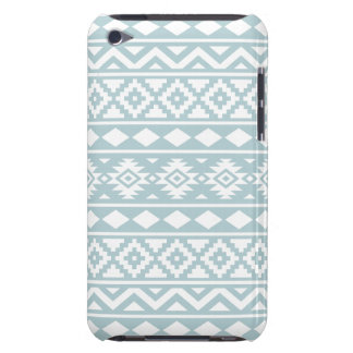 Aztec Essence Ptn III White on Duck Egg Blue Barely There iPod Cover
