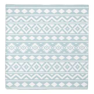 Aztec Essence Ptn III White on Duck Egg Blue Duvet Cover