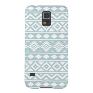 Aztec Essence Ptn III White on Duck Egg Blue Galaxy S5 Cases