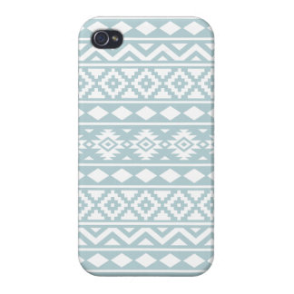 Aztec Essence Ptn III White on Duck Egg Blue iPhone 4 Case