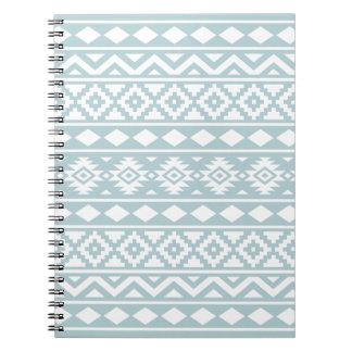 Aztec Essence Ptn III White on Duck Egg Blue Notebook